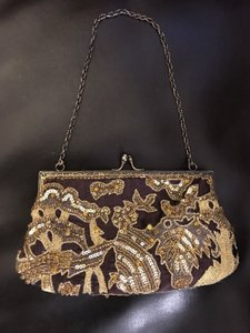 Marco Santi Santi Evening Brown Moyna Inge Chrisopher Brown Gold Clutch