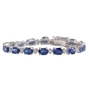 Fashion Strada 10.95 Carat Natural Sapphire 14K White Gold Diamond Bracelet