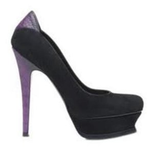 Saint Laurent Ysl Platform Suede Ostrich Tribute Black/Purple Pumps