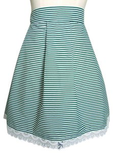 Lisa Nieves Cotton Striped Pinstripe Mini Skirt emerald green/white