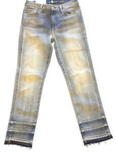 7 For All Mankind Release Hem Ankle Frayed Straight Leg Jeans-Light Wash