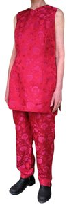Pianoforte di Max Mara Italian Women Silk Pants Suit Red Patterned Red Flowers Size 6