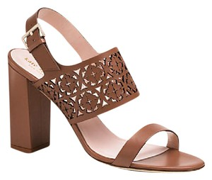 Kate Spade Leather Laser Cut Block Heel Slingback Strappy Brown Sandals