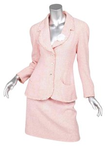Chanel 97P Womens Orange+White Floral Tweed Blazer Jacket+Pencil Skirt Suit