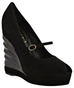 Saint Laurent Ysl Platform Robyn Wedge Black Pumps
