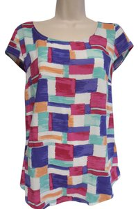 Splendid Cap Sleeves Zip Back Geometric Pattern Colorful Top pink/purple/teal/white