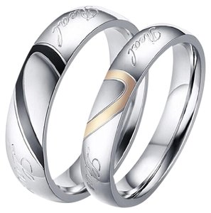 Other NEW - 2Pc Titanium Steel Real Love Couple Band Ring Set w/ Gift Box