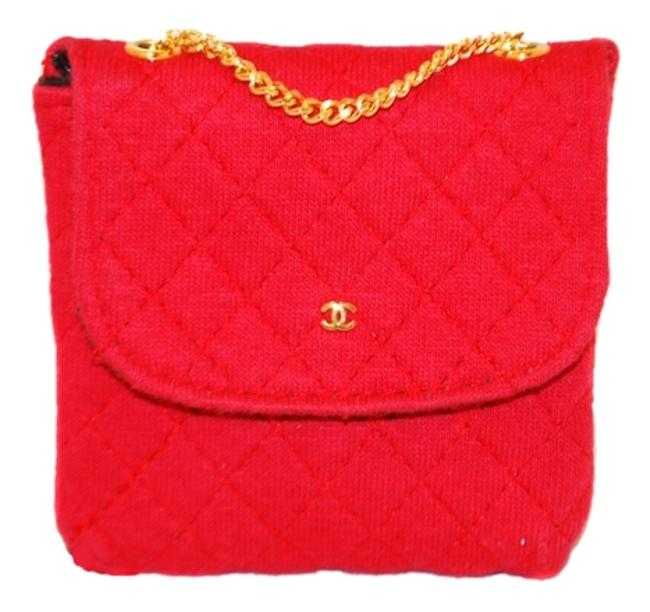Item - Hot Quilted Fabric Mini Neck Pink Canvas Clutch