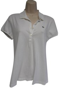 Lacoste Polo Shirt Cap Sleeve New W/tags Button Down Shirt white