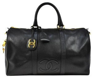 Chanel Duffle Vintage Boston black Travel Bag