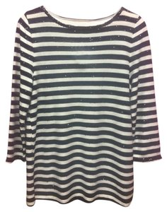 Talbots Striped Sequin New Top Black/White