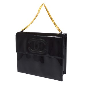 Chanel Vintage Patent Flap Tote in Black