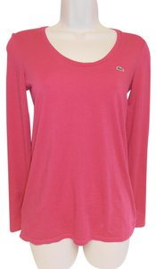 Lacoste Pull Over Long Sleeve Scoop Neck T Shirt fuschia