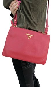 Prada Leather Double Zip Cross Body Bag