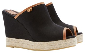 Tory Burch Black/ Royal Tan Wedges
