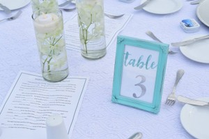 10 Turquoise Table Number Frames