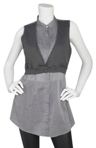 Brunello Cucinelli Zipper Trim Sleeveless Button Down Shirt Grey