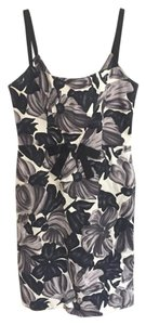 MILLY short dress black white grey floral on Tradesy