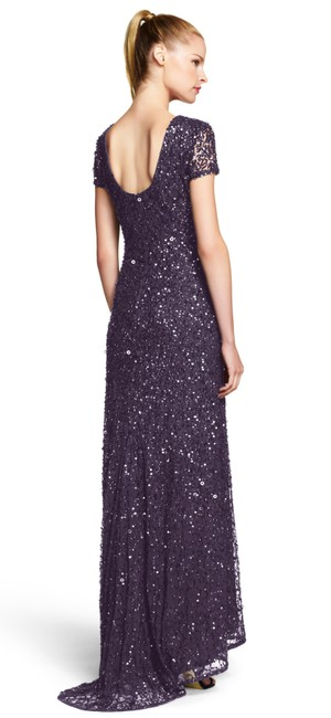 Adrianna Papell Embellished Evening Scoop Back Sequin Gown Dress