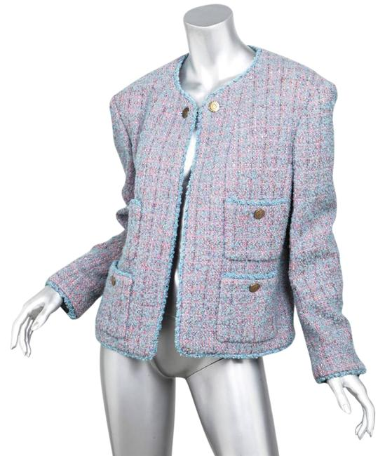 Preload https://img-static.tradesy.com/item/21168107/chanel-pink-boutique-womens-classic-pinkblue-boucle-long-sleeve-jacket-blazer-size-12-l-0-2-650-650.jpg