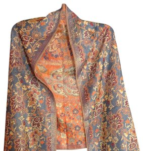 Cashmere Pashmina Group Reversible Blue/Orange Scarf with Beautiful Printed Fabrics