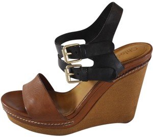 Chlo Chloe Platform Sandals Leather Brown Wedges