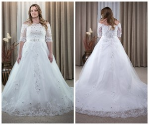 3/4 Sleeves Boat Neck Ball Gown Corset Back With Lace Applique Wedding Dress