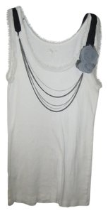 Ann Taylor LOFT Rose Detail Attached Necklace Top white