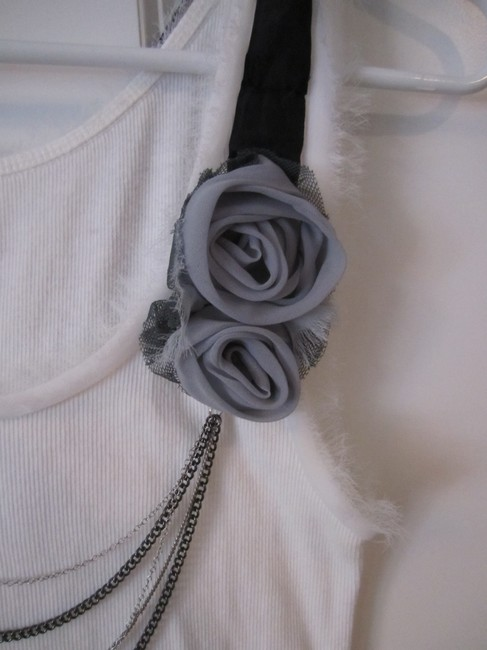 Ann Taylor LOFT Rose Detail Attached Necklace Top white Image 2
