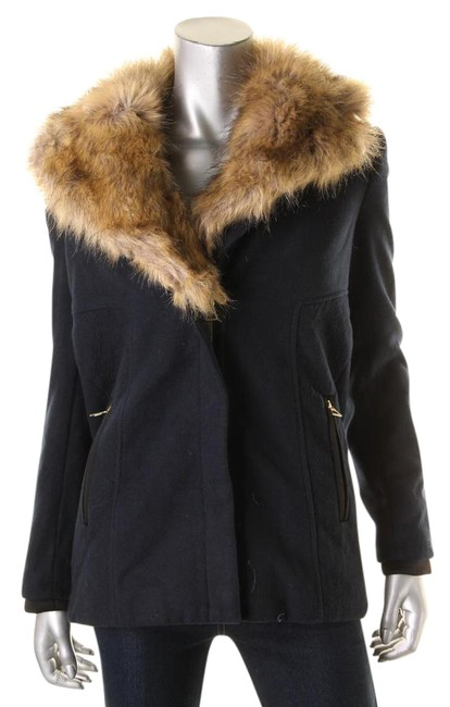 Item - Navy Trafaluc Fleece Fur Trim Collar Lined Basic Coat Size 2 (XS)