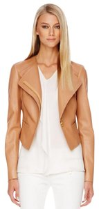 Michael Kors Spring Leather Italian Moto Runway Tan Jacket