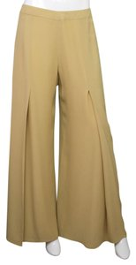 Carolina Herrera Parachute Silk Wide Leg Pants Tan