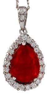 Fashion Strada 5.07CTW Natural Fire Opal And Diamond Pendant In 14K Solid White Gold