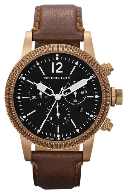 Burberry Brown New Bu7814 Swiss Chronograph Leather Strap Watch Image 1