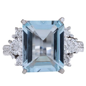Fashion Strada 4.91CTW Natural Aquamarine And Diamond Ring In 14K White Gold