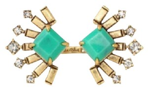 Stella & Dot STELLA & DOT Gold-Tone VERDA Jade Green Stone Cocktail Ring-Adjustable