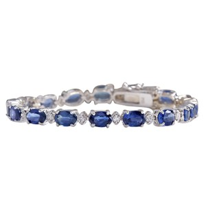 Fashion Strada 11.15CTW Natural Sapphire And Diamond Bracelet In 14K Solid White Gold