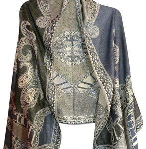 Cashmere Pashmina Group Black/Blue/Gray Scarf with Beautiful Printed Fabrics