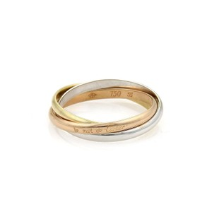 Cartier TRINITY 18k Tri-Color Gold 2mm Rolling Band Ring Size EU 55-US 7