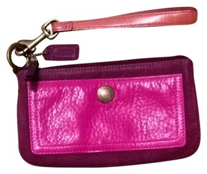 Coach Leather Wristlet Purple And Pink Clutch