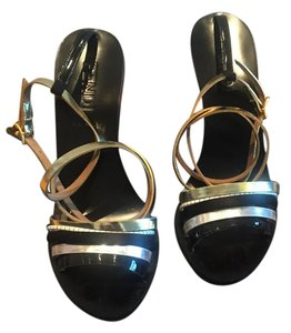 Fendi Striped Metallic Multicolored Black multi-colored Sandals