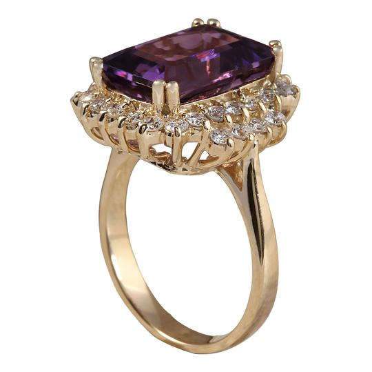 Fashion Strada 6.53CTW Natural Amethyst And Diamond Ring In 14K Solid Yellow Gold