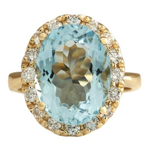Fashion Strada 5.32CTW Natural Aquamarine And Diamond Ring 14K Solid Yellow Gold