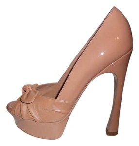 Saint Laurent Ysl Platform Heels Palais Bow Clay (nude with a hint of pink) Pumps