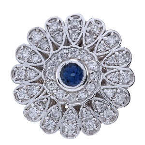 Fashion Strada 1.70Ct Natural Blue Sapphire And Diamond Ring In14K Solid White Gold
