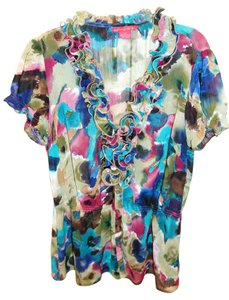 Sunny Leigh Top floral green maroon black