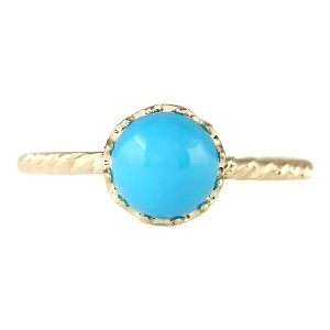 Fashion Strada 1.50 CTW Natural Turquoise Ring In 14k Yellow Gold