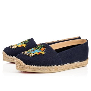 Christian Louboutin Lougalia Espadrille Navy Red Sole blue Flats