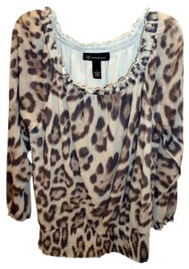 INC International Concepts Top beige and taupe animal print