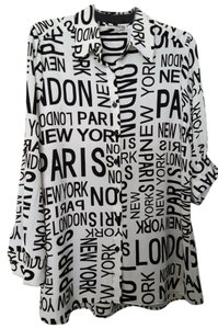 Mishca London Paris New York Button Down Shirt Black & White